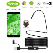 8.0mm Endoscope Camera 1080P HD USB with 8 LED 1/2/5/10M Flexible Cable Waterproof Inspection Borescope for Android PC