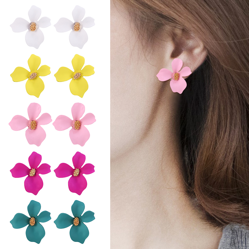 HOCOLE 5 Colors <font><b>Flower</b></font> Stud <font><b>Earrings</b></font> <font><b>For</b></font> <font><b>Women</b></font> Fashion New Korean Za Stud <font><b>Earring</b></font> <font><b>Statement</b></font> Female Brinco Wholesale Jewelry <font><b>2019</b></font> image