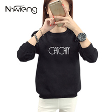 2017 Plus Size Leisure Autumn Female Sportwear CAT Letter Printing O-Neck Black And White Jumper Lady Sweatshirts And Pullovers