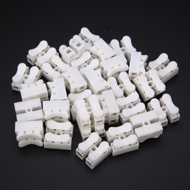 60pcs Quick Splice Lock Wire Connectors Mayitr CH2 2Pins Electrical Cable Terminals 20x17.5x13.5mm