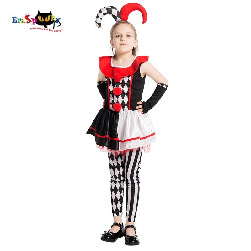 Eraspooky 2020 Movie Harley Quinn Cosplay Halloween Costume for Kids Red Black Clown Girls Dress Joker Carnival Fancy Dress