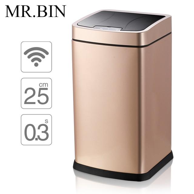 mr bin smart sensor trash can stainless steel induction dustbin