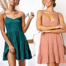 Newest Solid Color Pink Green V-Neck Spaghetti Strap Dress Elastic A Line Sleeveless Loose Patchwork Cotton Midi For Woman