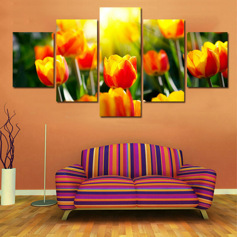 5 Panels Canvas Prints Modern Tulip Flowers Painting