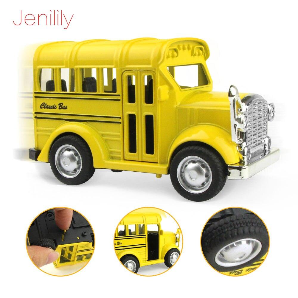 Мини-открываемая дверь 1:36, игрушечная музыкальная лампа, литой под давлением металлический сплав, модель автомобиля, школьный автобус, обуч...