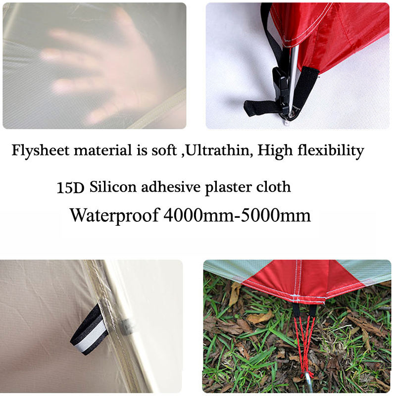 Waterproof Camping Tent For Heavy Rain15D Silicon Plaster Cloth No-see-um Mesh Beach Tent Permeability Camping Tents Equipment 5