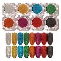 8Pcs Set Holographic Laser Powder Nail Glitter Rainbow Manicure Chrome Pigments