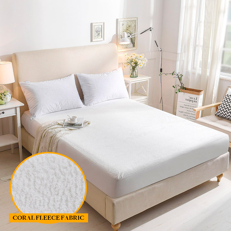 Coral Fleece Fabric Anti-mite Waterproof Mattress Protection for Bed Wetting&Bed Bug Breathable Hypoallergenic 1PC