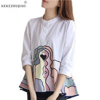 New Arrival Embroidery 3/4 Sleeve Tops Women Cotton Casual Shirt Plus Size Summer Embroided Shirts Stand Collar Fashion Blouse