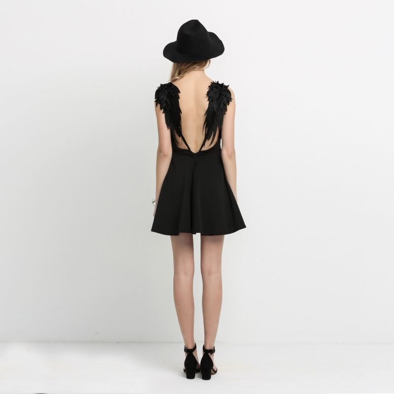 ORINERY Hot Sale Solid Summer Dress Black Back Wings Mini Vestidos Sexy Sleeveless Women Dress High Quality Beach Dress