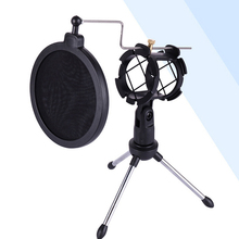 Adjustable Microphone Stand Desktop Tripod For Computer Video Recording with Mic Windscreen Filter Cover