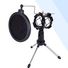 Tripé ajustável para microfone, suporte de desktop para gravação de vídeo do computador com cobertura de filtro de pára brisa