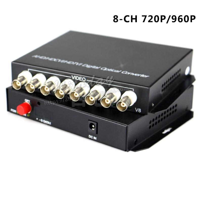 Fiber optical converter video 8 CH coaxial HD 720P 960P video AHD CVI TVI Fiber optical