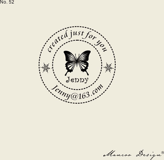 Customized Butterfly Stamp Personalized Logo Custom Vintage Flower Rubber Handmade 157x1