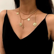 New Vintage Cross Little Angel Coin Multi Pendant 2 Layered Tassel Choker Necklace for Women Fashion Boho Jewelry Female Gift emanco multi layered necklace crystal beads chain vintage old coin pendant necklace 2018 new arrivals for women fashion jewe