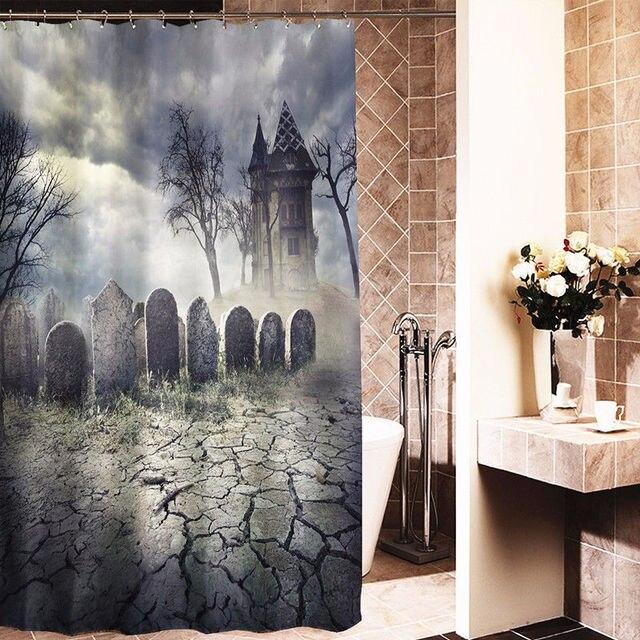 Badewanne Vorhang 180x180 cm friedhof spukhaus gewebe duschvorhang