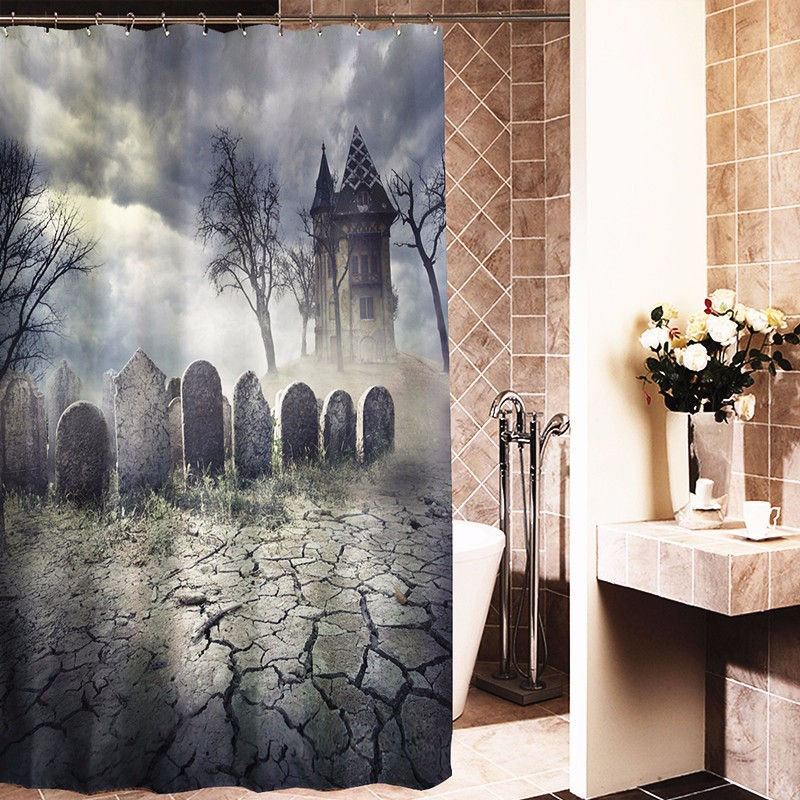 180x180cm Halloween Graveyard Haunted House Fabric Bathroom Shower Curtain Waterproof Tub Curtain Home Decor With 12