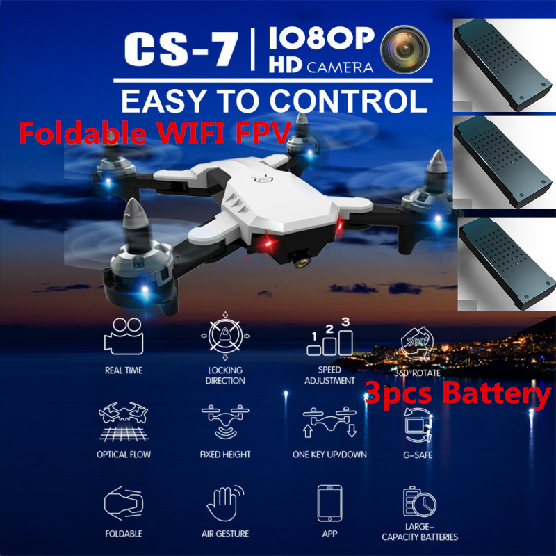 Extra 3pcs battery Selfie 2.4G Drone WIFI FPV RC Drone CS7 With 1080P HD Camera Remote Control RC Quadcopter Headless Mode gifts