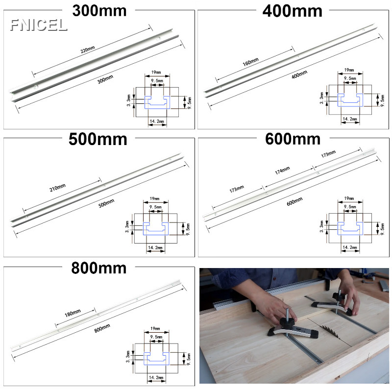 T-tracks Aluminum Alloy Slot Miter Track Jig Fixture for Router Table Bandsaws Woodworking Tool 300mm/400mm/600mm/800mm