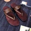 Los Hombres de Cuero reales Sandalias Tejidas T-strap Flip Flop Zapatos de Verano Al Aire Libre Antideslizante Zapatillas de Playa de Diapositivas