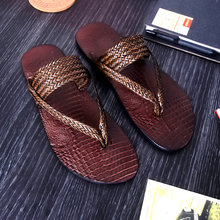 Real Leather Men's Woven Sandals T-Strap Flip Flop Shoes Summer Outdoor Non-Slip Beach Slippers Slides