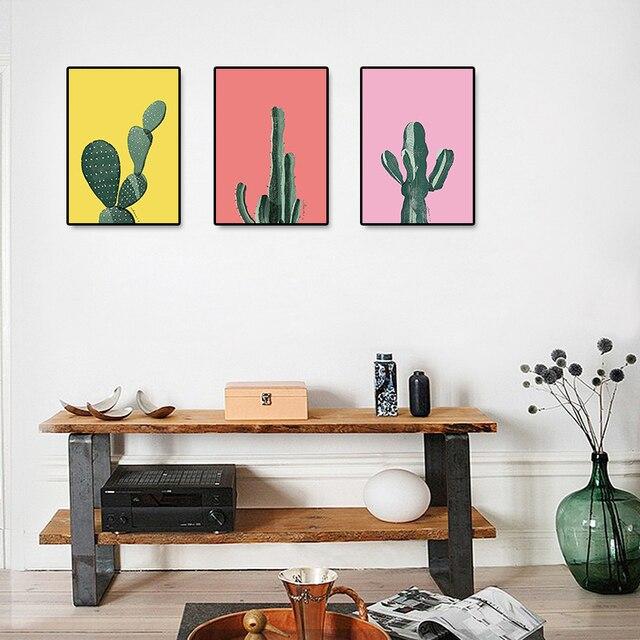 Poster Und Drucke Wandkunst Leinwand Malerei Farbige Hintergrund Kaktus  Wandbilder Für Wohnzimmer Nordic Dekoration