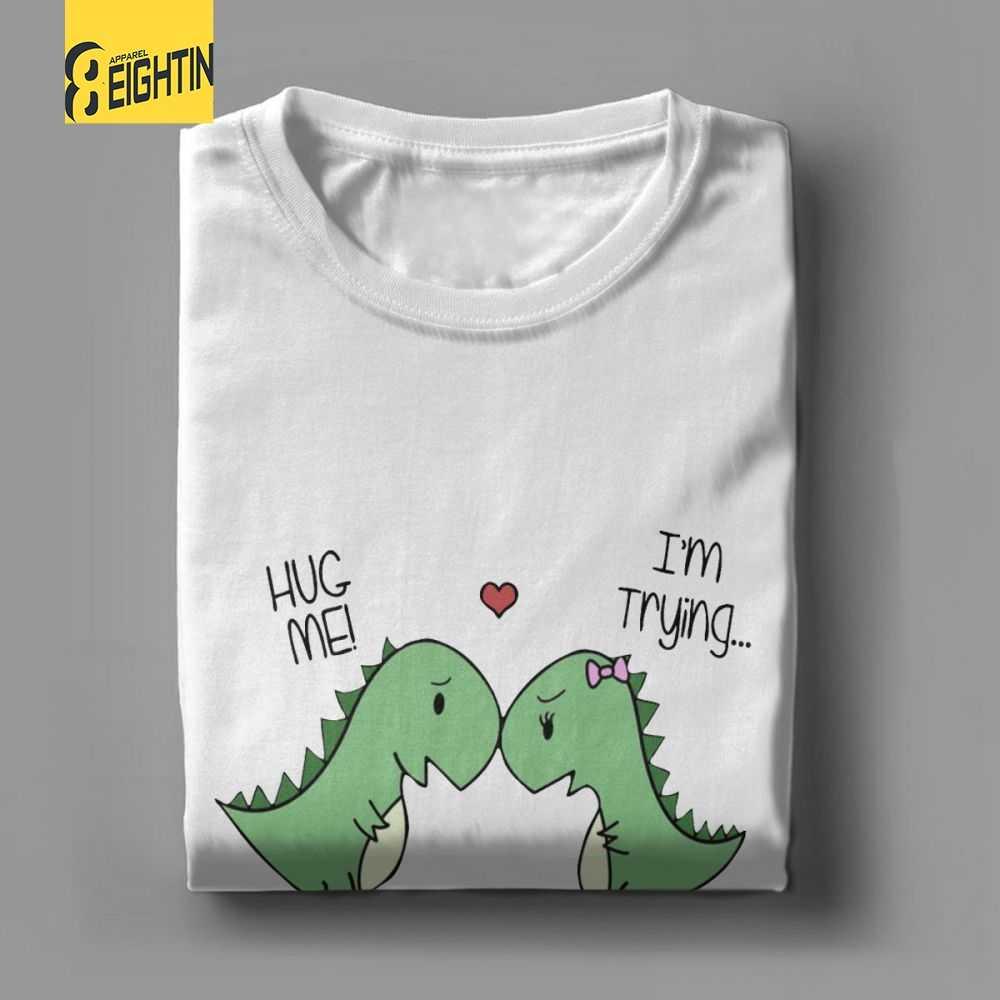 74e90183b828 ... Dino Love Hug Me Dinosaur T-Shirts High Quality 2018 Fashion  Short-Sleeved T ...