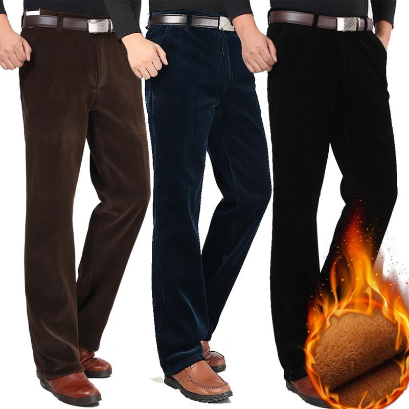 Winter Men Corduroy Pants Velvet Thicken High Waist Loose Elastic Corduroy Trousers Male Straight Business Casual Warm Pants