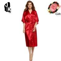 b9db60034 Women Sexy Satin Robes Elegant Half Sleeve Nightwear Silk Long Bathrobes  Bride Robes Kimono Satin Robe