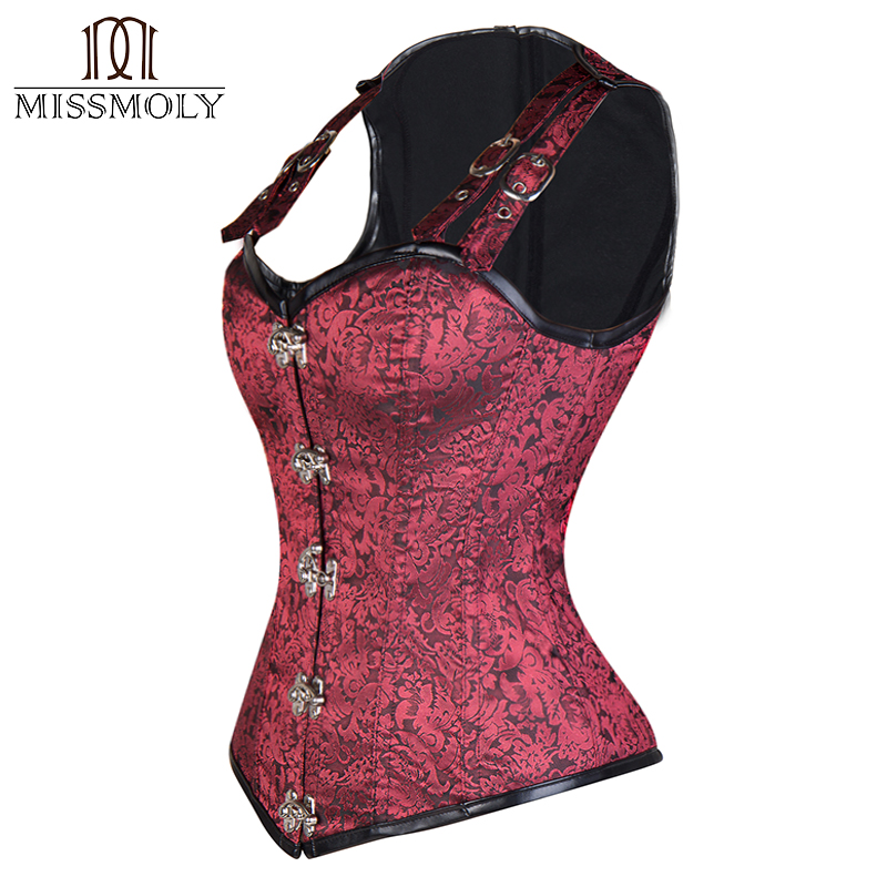 Miss Moly Women Steampunk Gothic   Corset     Bustier   Overbust   Bustier   Tops Slimming Waist Cincher Girdle Body Shaper Plus Size S-2XL