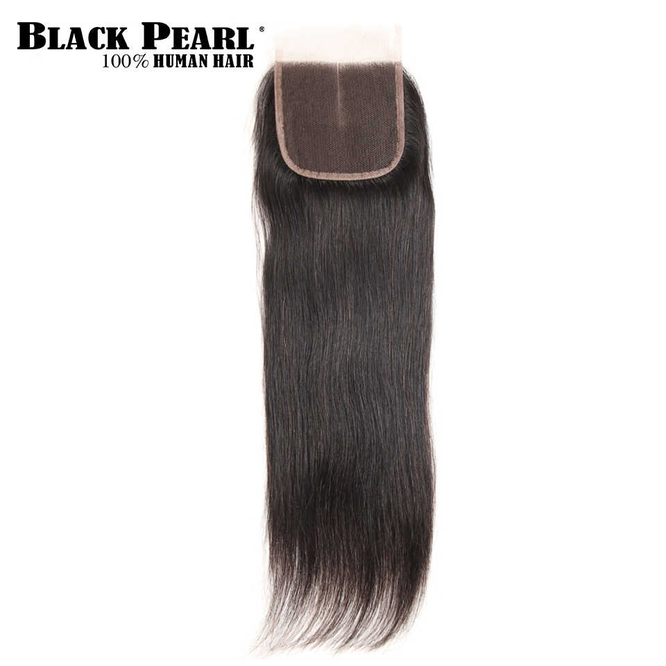Black Pearl  Remy Hair Closure Brazilian Straight Human Hair Lace Closure 4x4 Free Part Middle Part Three Part  Closure