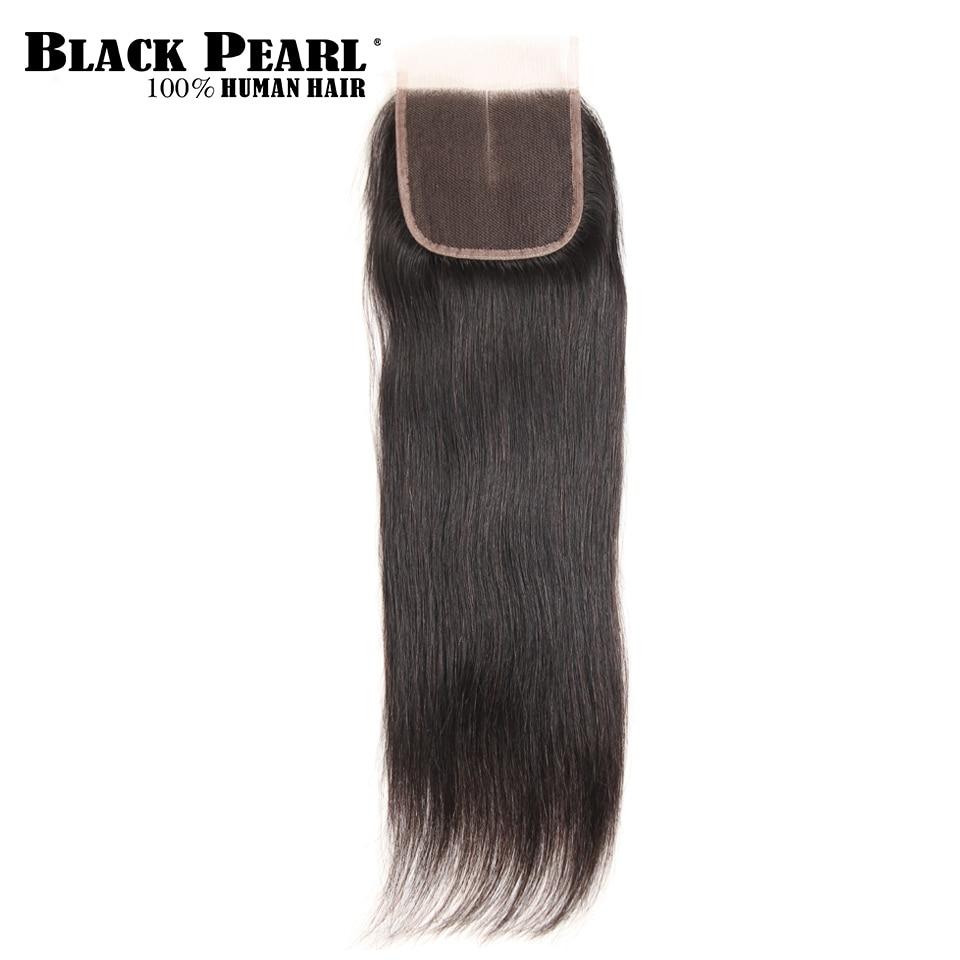 Black Pearl  Remy Hair Closure Brazilian Straight Human Hair Lace Closure 4x4 Free Part Middle Part Three Part  Closure