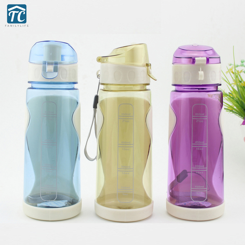 650ml Sport Portable Water Bottle Plastic Creative Outdoor Camping Drop Resistant Fashion Leak Proof Drinkware Environmental