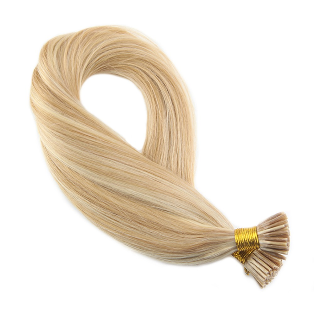 Moresoo 50g I Tip Hair Extensions Human Hair #14 Highlighted With #613 Hair Extension Machine Remy Human Hair 50g/pack