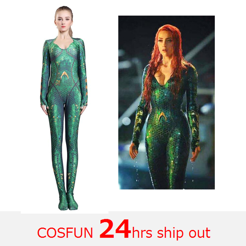 Aquaman Mera Costume Women Girls Amber Heard Queen of the Sea Mera Female Bodysuit Justice League DC Superhero Halloween Costume