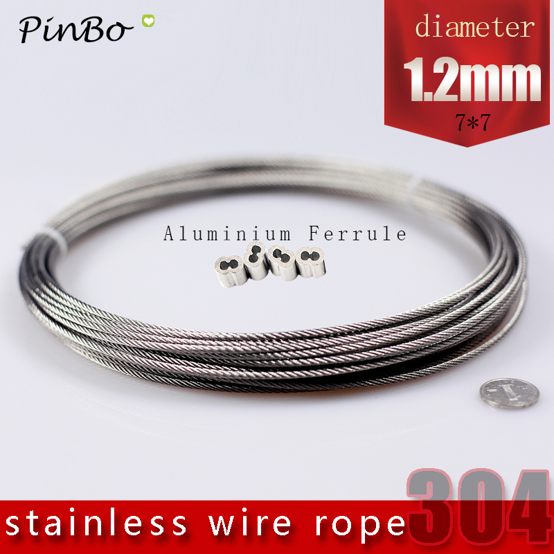 100M 304 stainless steel wire rope alambre cable softer fishing lifting cable 7X7 Structure 1.2mm diameter