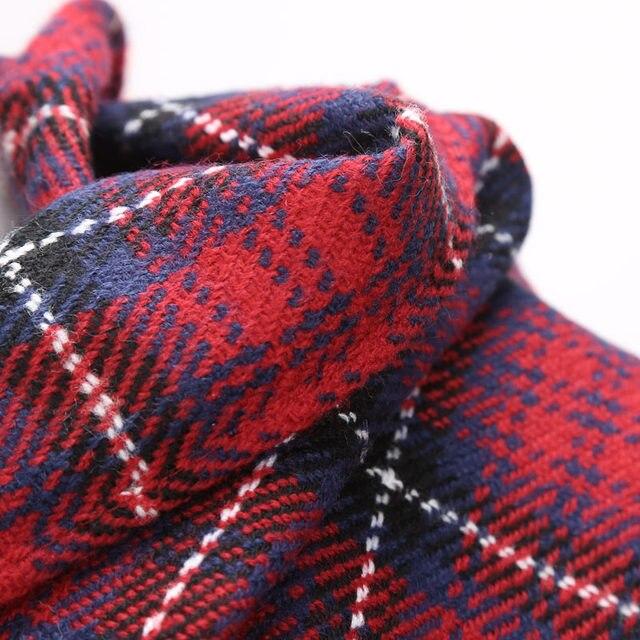 Tienda Online Marca bufandas borlas largas Red Plaid tejido de ...