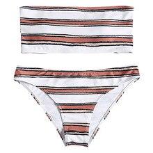 Women Bikini Bandeau Strapless Stripe