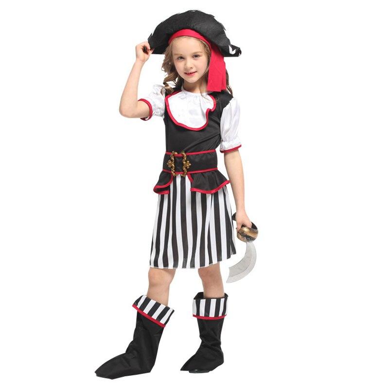 Umorden New Arrival Halloween Costumes for Girls Black White Elegant Pirate Costume Suit Party Carnival Dress for Girl Kids