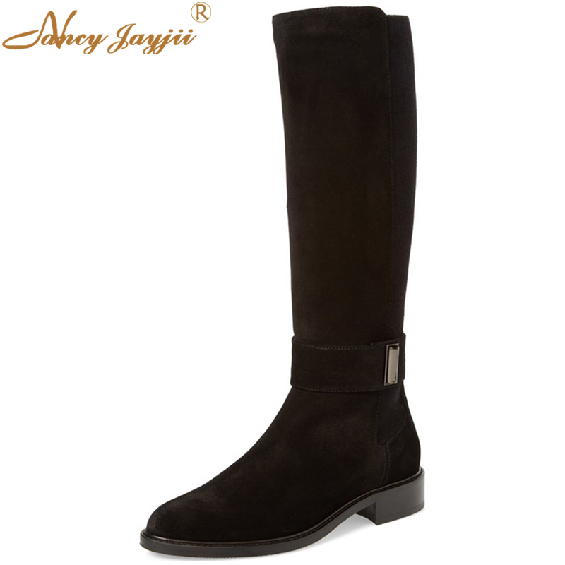 Bc New Woman Springwinter Fashion Black Suede Flat Heel Knee High Left Side Zip Boots -1217