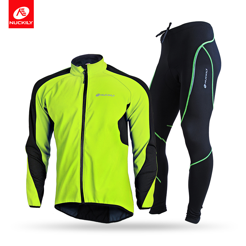 NUCKILY Mens Bicycle Jersey Set Waterproof Windproof Winter Riding Jacket Thermal Fleece Gel Pad Cycling Tights Set NJ604-903-W