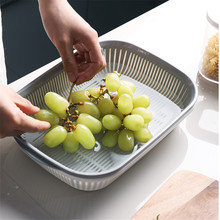 Double Fruit And Vegetable Cleaning Basket Kitchen Hollow Drain Multi-function Storage Basket Sink Storage Basket