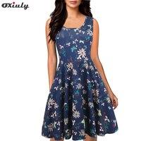 Oxiuly Floreale Della Signora Abito Vintage 1950 s 60 s Donne di Grande Swing Tunica Senza Maniche Fit e Flare Vestito Casual vestidos