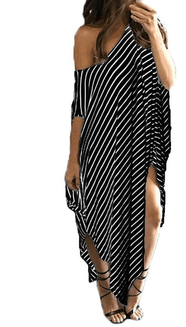 La MaxZa Striped One Shoulder Asymmetrical Women Dress Thigh Slit Long Loose Jumper Beach Big Size Dresses Vestidos Verano