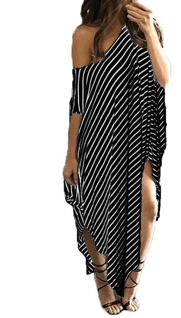 La MaxZa Striped One Shoulder Asymmetrical Women Dress Thigh Slit Long Loose Jumper Beach Big Size Dresses Vestidos Verano
