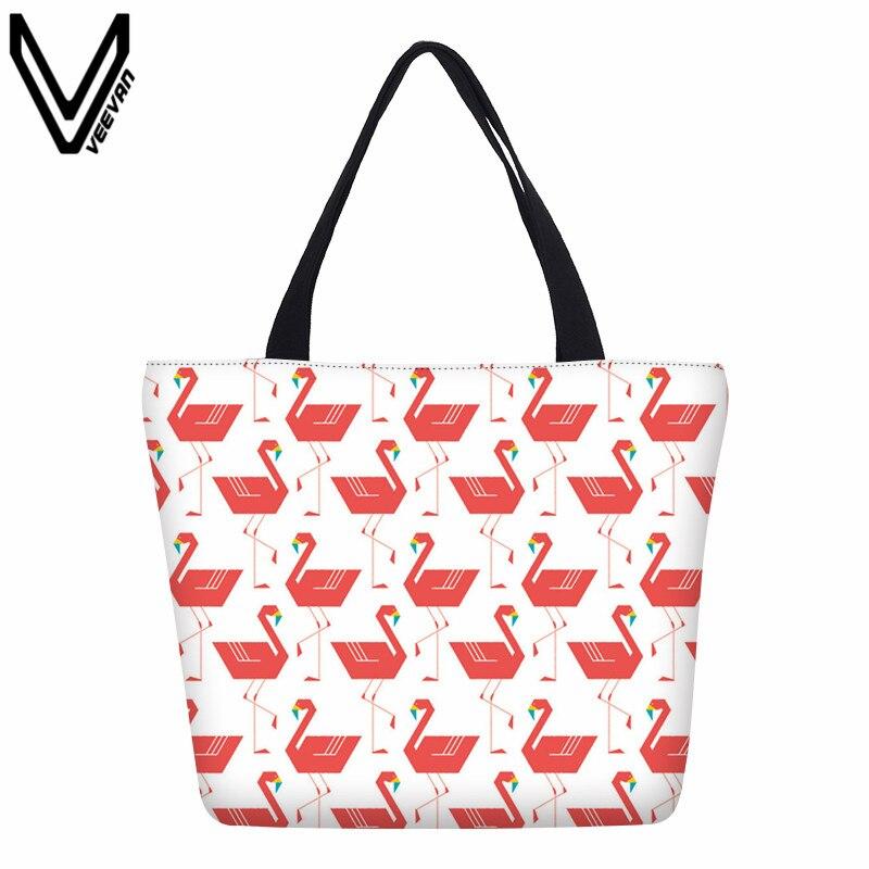 VEEVANV 2017 New Fashion Flamingo Printed Canvas Shopping Bags Animal Design Beach Bag For Women Tote Bags Casual Handbags Gifts