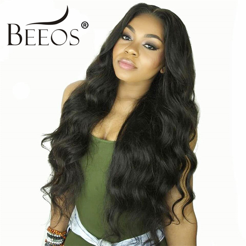 Beeos 13*6 Lace Front Human Hair Wigs for Women 250% Deep Part Body Wave Lace Wig Brazilian Remy Hair Pre Plucked Bleached Knots