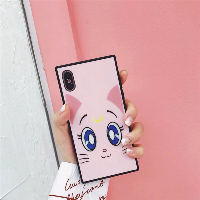 ProElite Soft Silicone+PVC Shell Case for iPhone X 6S 6 6S Plus 7 7 Plus 8 8 Plus Cute Big Eyes Cartoon Cat Mirror Back Cover