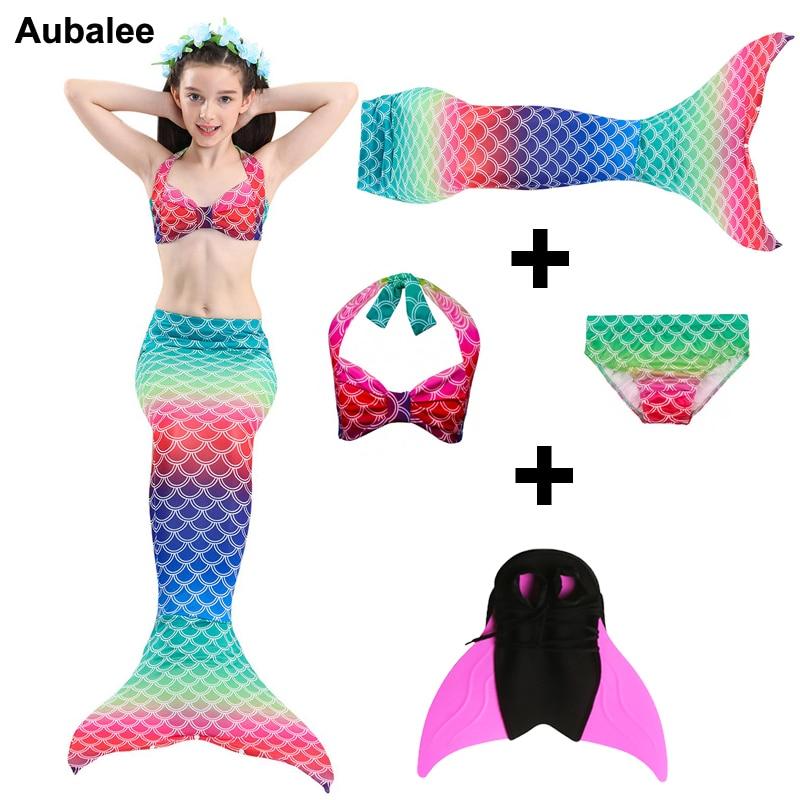 4 pièces/ensemble enfants filles petites queues de sirène pour Costume de natation avec Monofin Flipper Bikini maillot de bain queue de sirène maillot de bain