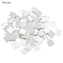 She Love 100 шт./лот 10x10/15x15 мм Мини квадратная стеклянная зеркальная мозаичная плитка для Diy домашнего декора